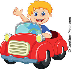 menino, caricatura, carro vermelho