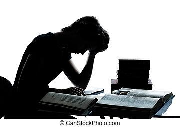 menino, caucasiano, corte, silueta, cansadas, estudar, isolado, jovem, leitura, livros, estúdio, adolescente, fundo, branca, uma menina, saída