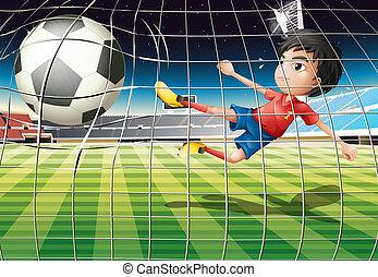 menino, chutando, bola, campo futebol