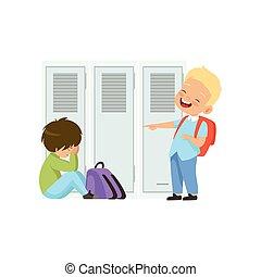 menino, escola, apontar, escárnio, sentando, chão, ilustração, intimide, mau, vetorial, rir, outro, entre, crianças, conflito, comportamento