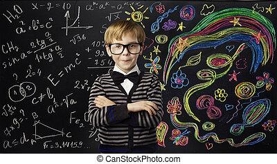 menino, escola, arte, conceito, criatividade, idéias, aprendizagem, criança, matemática, educação, fórmula, criança