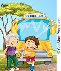 menino, escola, valentão, autocarro, outro, colheita