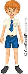menino, escola, vestido