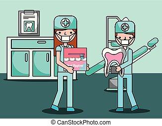 menino, escritório, odontólogo, higiene, menina, oral, prevenção