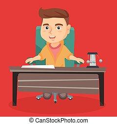menino, escritório, tocando, papel, worker., caucasiano