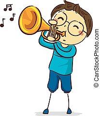 menino, figura, vara, trompete, tocando, criança