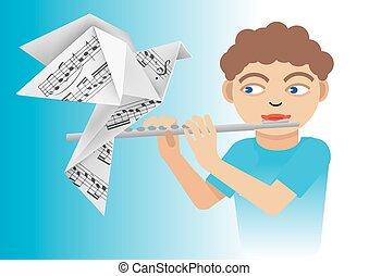 menino, flauta, pomba, origami