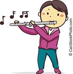 menino, flauta, tocando, criança, vara