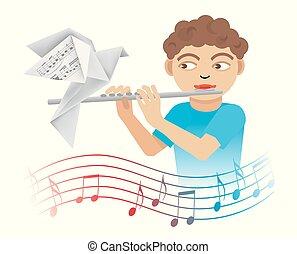 menino, flute., pequeno, tocando