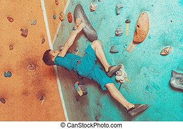 menino, ginásio, exercitar, livre, escalador