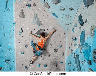 menino, ginásio, segurança, equipamento escalando