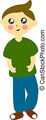 menino, ilustração, camisa, experiência., vetorial, verde branco