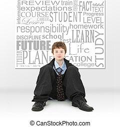 menino, imagem, conceito, educação