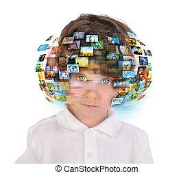 menino, imagens, mídia, jovem