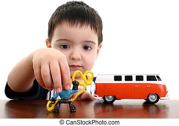 menino, jogo, criança, brinquedos