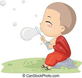 menino, jogo, monge, ilustração, bolhas, criança