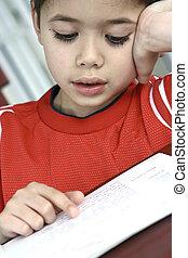 menino, jovem, book., passado limpo, enquanto, leitura