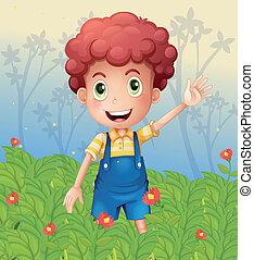 menino, jovem, jardim