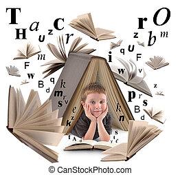 menino, livro escolar, letras, leitura