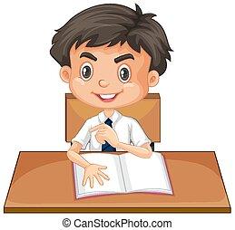 menino, livro, feliz, leitura, um