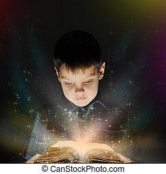 menino, livro, magia, leitura
