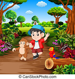 menino, macaco, floresta tropical