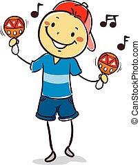 menino, maracas, tocando, criança, vara
