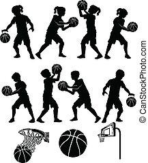 menino, menina, basquetebol, silueta, criança