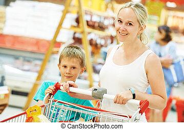 menino, mulher, criança, shopping