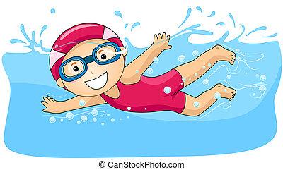 menino, natação