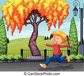 menino, parque, feliz