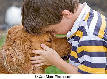 menino, pequeno, cão