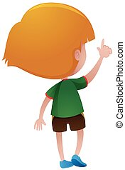 menino, pequeno, camisa verde, costas