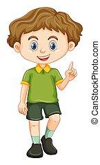 menino, pequeno, camisa verde