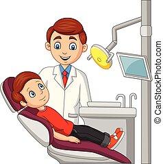 menino, pequeno, escritório dentista, caricatura