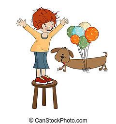 menino, pequeno, seu, cão, tocando