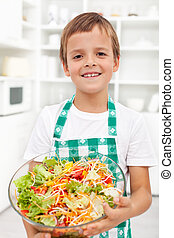 menino, salada, nutrição, saudável, -, fresco, feliz