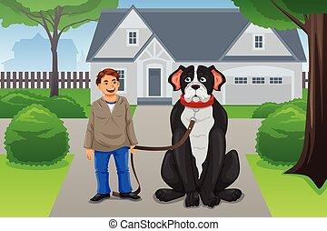 menino, seu, cão, grande