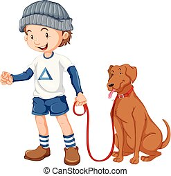 menino, seu, cão