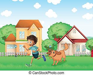 menino, seu, cão, tocando