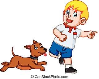 menino, seu, tocando, cão