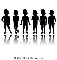 menino, silueta, reflexão, pretas