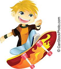 menino, skateboarding