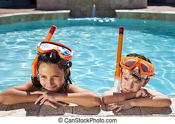 menino, &, snorkel, óculos proteção, menina, piscina, natação