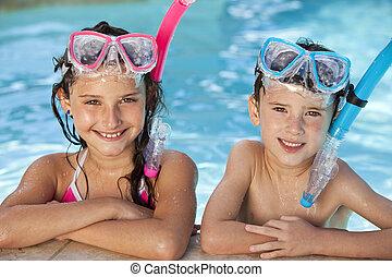 menino, snorkel, óculos proteção, menina, piscina, natação