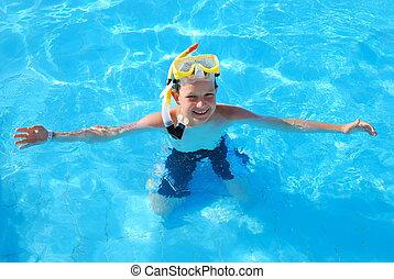 menino, snorkeling, piscina, feliz