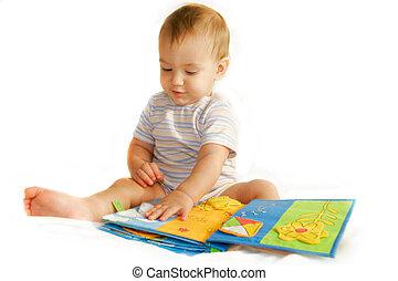 menino, sobre, livro, bebê, branca, leitura