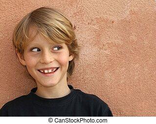 menino, sorrindo, cheeky, criança, criança, ou, feliz