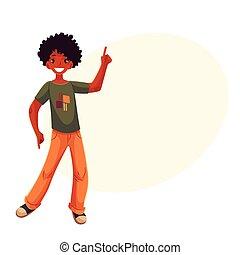 menino, teenaged, dançar, haired, shorts, retrato, vermelho