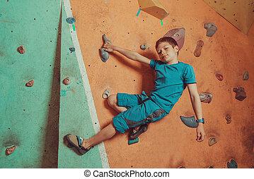 menino, treinamento, ginásio, escalador